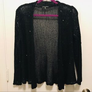 Eileen Fisher open knit cardigan with sequins